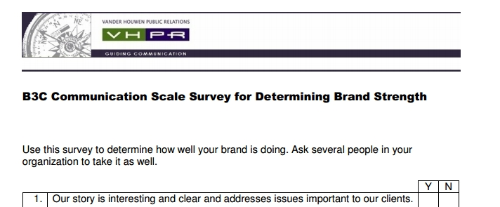 Here's a survey to help you find out how your brand is doing